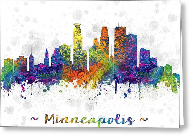 Minneapolis Skyline Greeting Cards - Minneapolis Minnesota color 03SQ Greeting Card by Aged Pixel