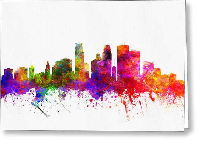 Minneapolis Skyline Greeting Cards - Minneapolis Minnesota Skyline color02 Greeting Card by Aged Pixel
