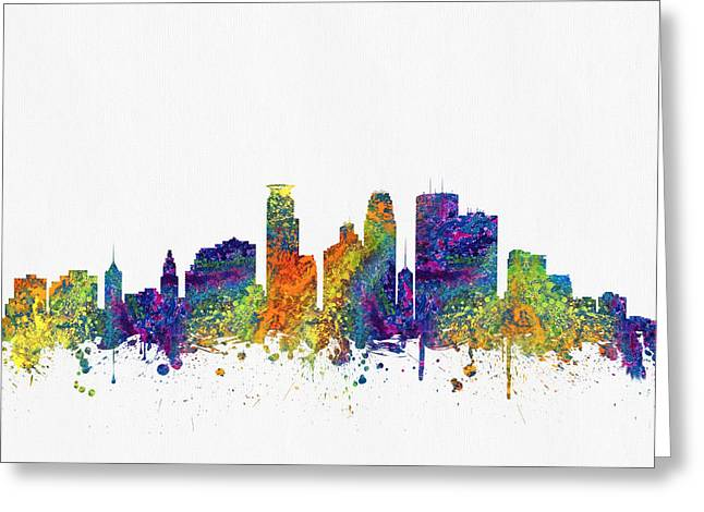 Minneapolis Skyline Greeting Cards - Minneapolis Minnesota Skyline color03 Greeting Card by Aged Pixel