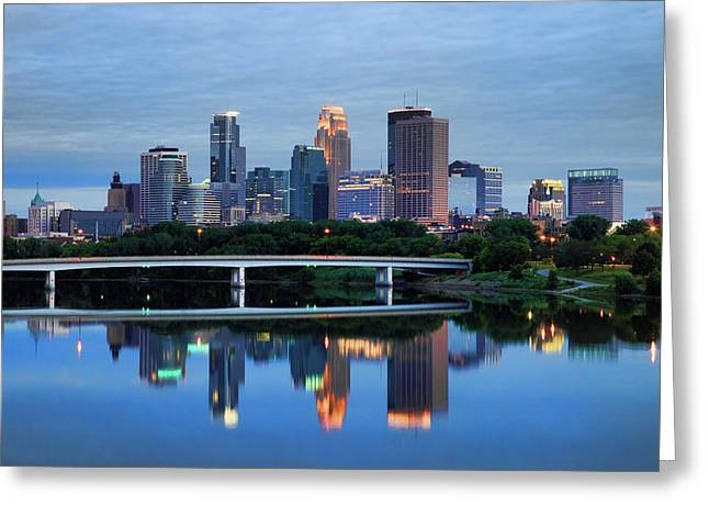Minneapolis Skyline Greeting Cards - Minneapolis Reflections Greeting Card by Rick Berk