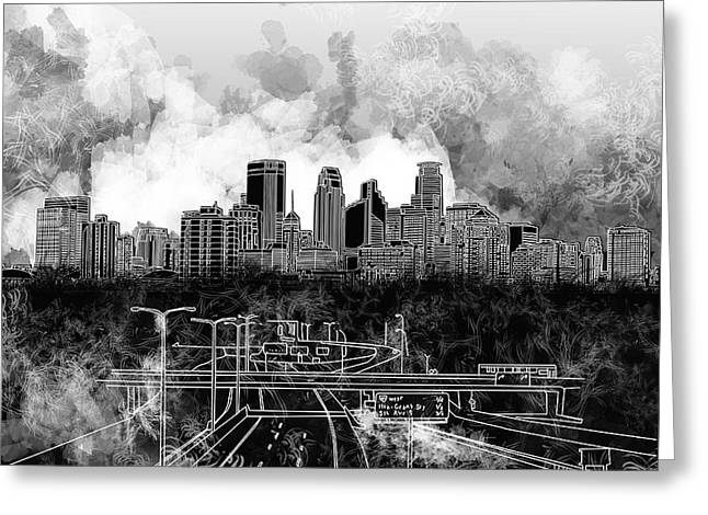 Urban Images Greeting Cards - Minneapolis Skyline Abstract 2 Greeting Card by MB Art factory