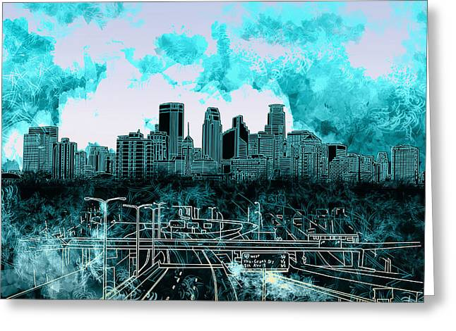 Urban Images Greeting Cards - Minneapolis Skyline Abstract 3 Greeting Card by MB Art factory