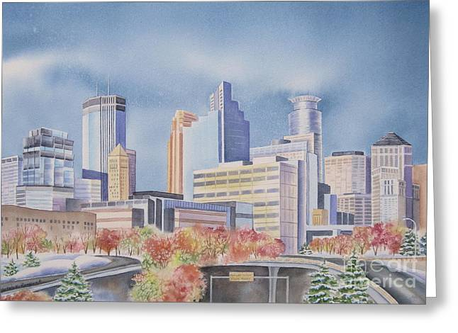 Minneapolis Skyline Greeting Cards - Minneapolis Skyline Greeting Card by Deborah Ronglien