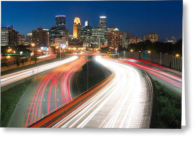 Minneapolis Skyline And Traffic Flow Greeting Card by Jim Hughes