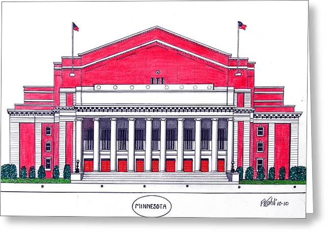 College Campus Drawings Greeting Cards - Minnesota Greeting Card by Frederic Kohli