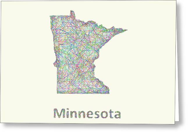 Multicolor Greeting Cards - Minnesota line art map Greeting Card by David Zydd