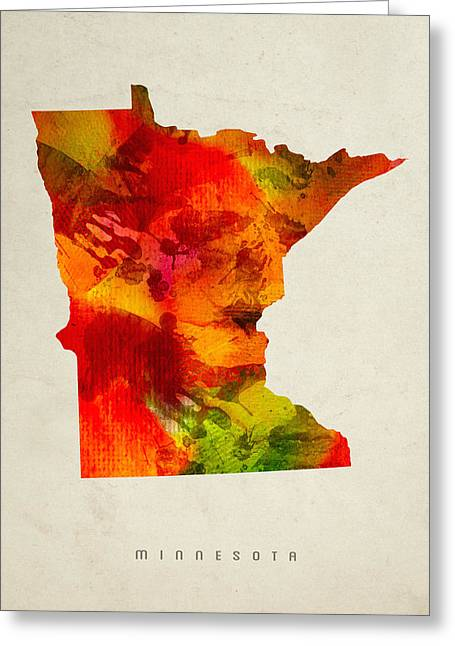 Minnesota State Map 04 Greeting Card by Aged Pixel