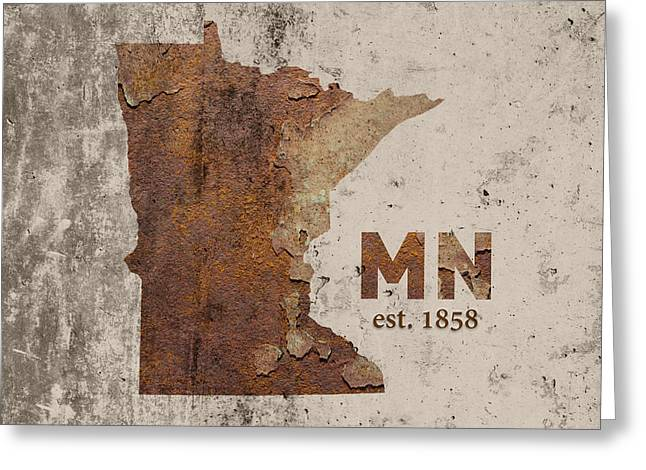 Cement Greeting Cards - Minnesota State Map Industrial Rusted Metal on Cement Wall with Founding Date Series 036 Greeting Card by Design Turnpike