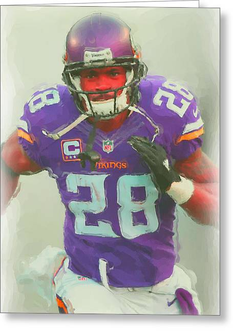 Minnesota Vikings Adrian Peterson 2 Greeting Card by Joe Hamilton