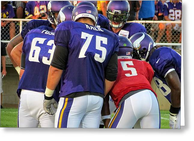 Rudolph Greeting Cards - Minnesota Vikings Team Huddle Greeting Card by Kyle West