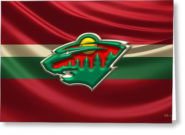 Hockey Memorabilia Greeting Cards - Minnesota Wild - 3D Badge over Silk FlagMinnesota Wild - 3D Badge over Silk Flag Greeting Card by Serge Averbukh