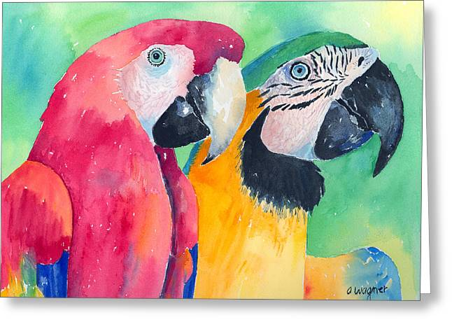 Macaw Greeting Cards - Minnie And Boggs Greeting Card by Arline Wagner