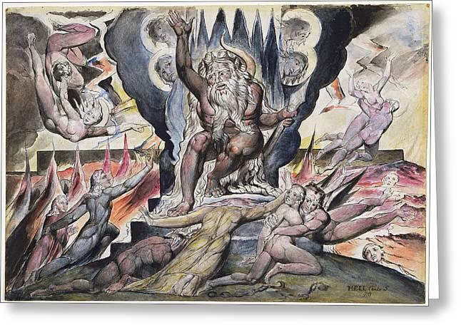 William Blake Drawings Greeting Cards - Minos Greeting Card by William Blake