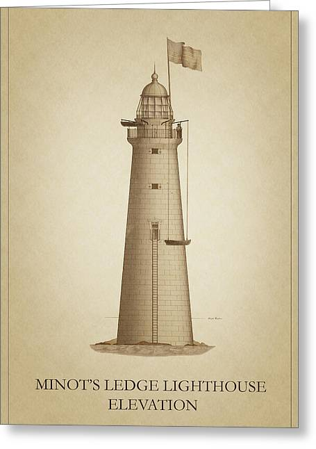 Ledge Drawings Greeting Cards - Minots Ledge Lighthouse Greeting Card by Ambro Fine Art