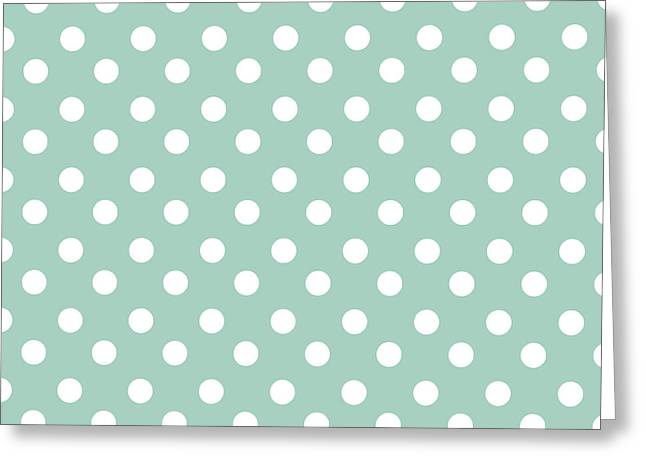 Awesome Tapestries - Textiles Greeting Cards - Mint Polka Dots Greeting Card by Bimbys Collections
