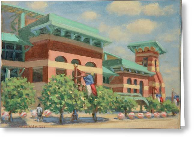 Houston Astros Paintings Greeting Cards - Minute Maid Park July Afternoon Greeting Card by Texas Tim Webb