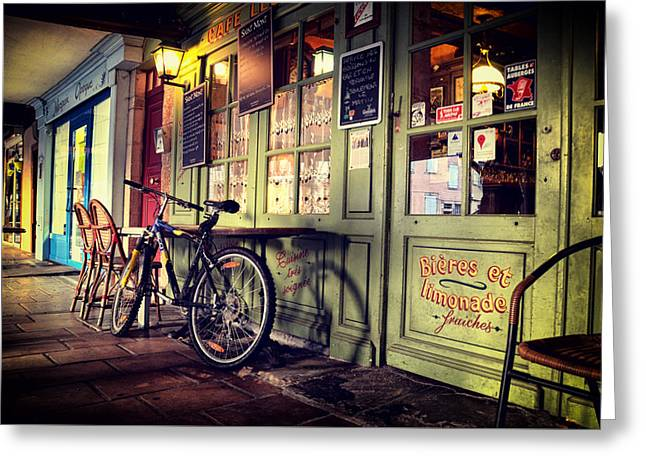 French Bicycle Shop Greeting Cards - Mirepoix Greeting Card by Shardox Photography