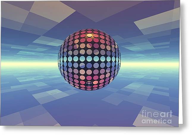 Surreal Geometric Greeting Cards - Mirror Ball Greeting Card by Phil Perkins