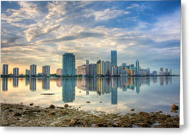 Brickell Greeting Cards - Mirror City Greeting Card by William Wetmore