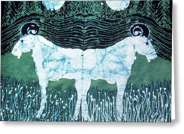 Mystical Tapestries - Textiles Greeting Cards - Mirror Image Goats in Moonlight Greeting Card by Carol Law Conklin