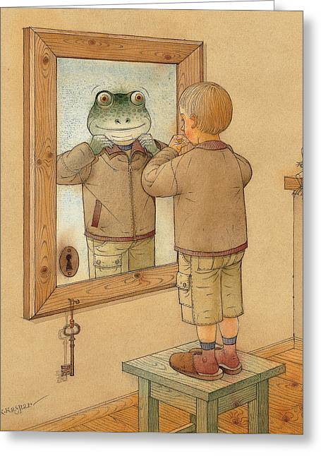 Brown Frog Greeting Cards - Mirror Greeting Card by Kestutis Kasparavicius