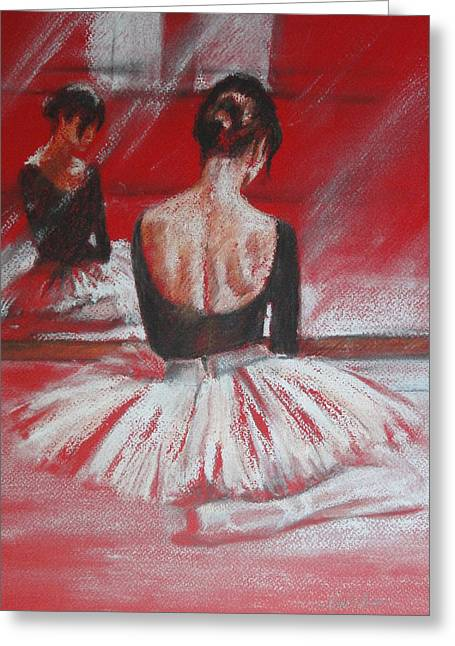 Ballet Dancers Greeting Cards - Mirror Mirror Greeting Card by Zoe James-Williams