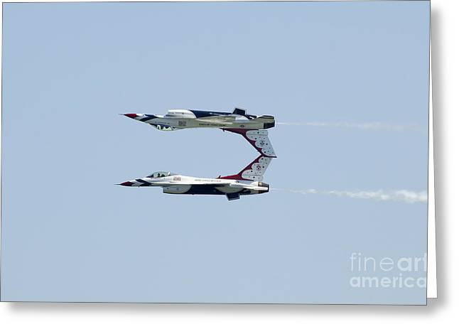 Military Airplanes Greeting Cards - Mirror Pass done by US Air Force Thunderbirds  Greeting Card by Anthony Totah