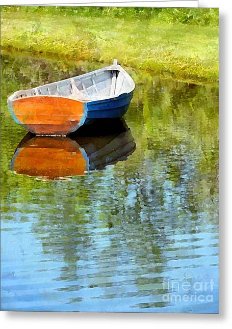 Maine Spring Greeting Cards - Mirror Pond Greeting Card by Helene Guertin