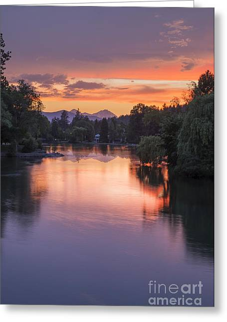 Mirror Pond Sunset In Summer Greeting Card by Twenty Two North Photography