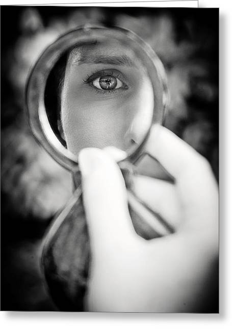 Eyebrow Greeting Cards - Mirror Reflection Greeting Card by Loriental Photography
