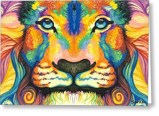 Lioness Greeting Cards - Mirrored Lucky Lion Greeting Card by Sarah Jane