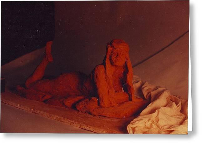 Erotic Sculptures Greeting Cards - Mis K ... sunning herself. Greeting Card by William Zeidlik