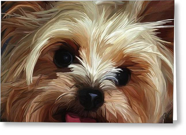 Puppies Paintings Greeting Cards - Mischief Greeting Card by Patti Siehien