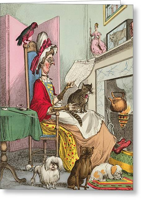 Hound Drawings Greeting Cards - Miss Ann Thropy Greeting Card by William Heath