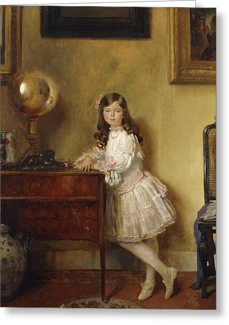Miss Annie Harmsworth In An Interior Greeting Card by Sir William Orpen