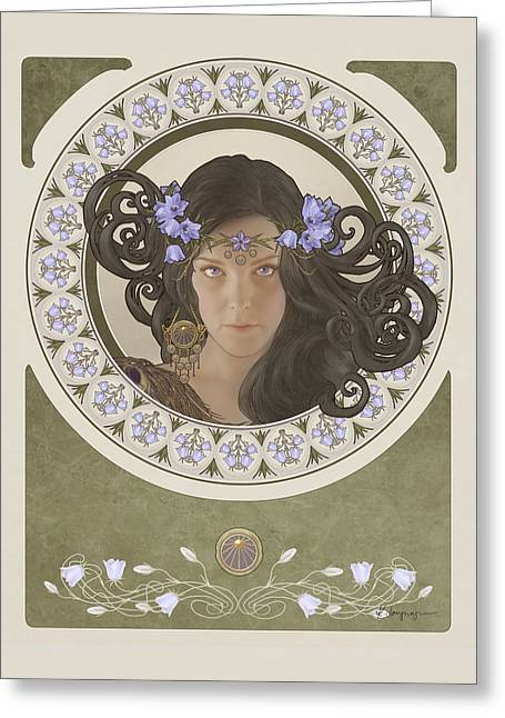Phantasie Digital Greeting Cards - Miss Bluebell Greeting Card by Cassiopeia Art