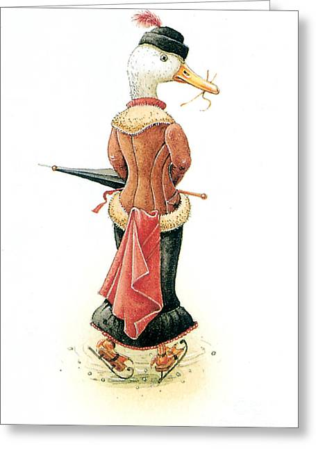 Ice-skating Greeting Cards - Miss Duck Greeting Card by Kestutis Kasparavicius