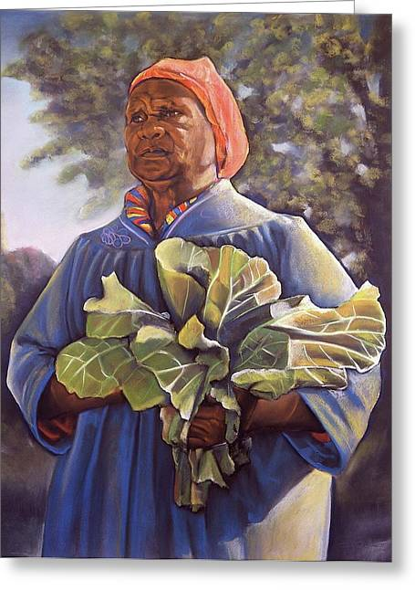 Elderlies Greeting Cards - Miss Emmas Collard Greens Greeting Card by Curtis James