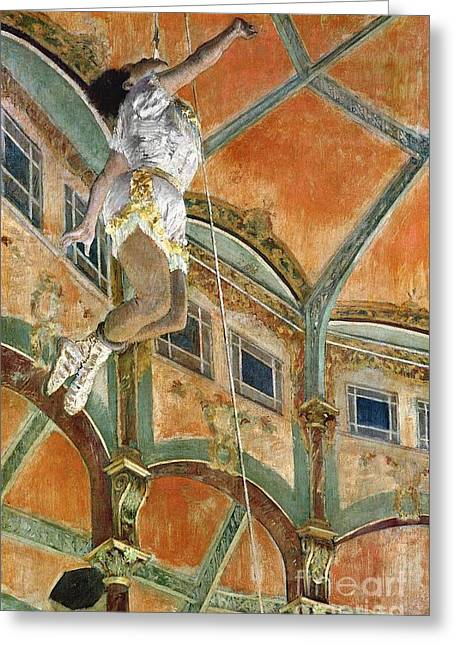 Degas Edgar 1834-1917 Greeting Cards - Miss La la at the Cirque Fernando Greeting Card by Edgar Degas