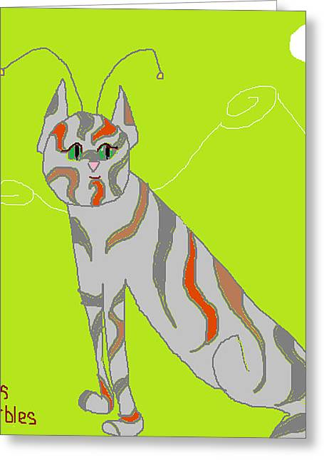 Marble Eye Greeting Cards - Miss Marbles My Favorite Martian Greeting Card by Anita Dale Livaditis