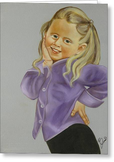 Girls Greeting Cards - Miss Priss Greeting Card by Joni McPherson