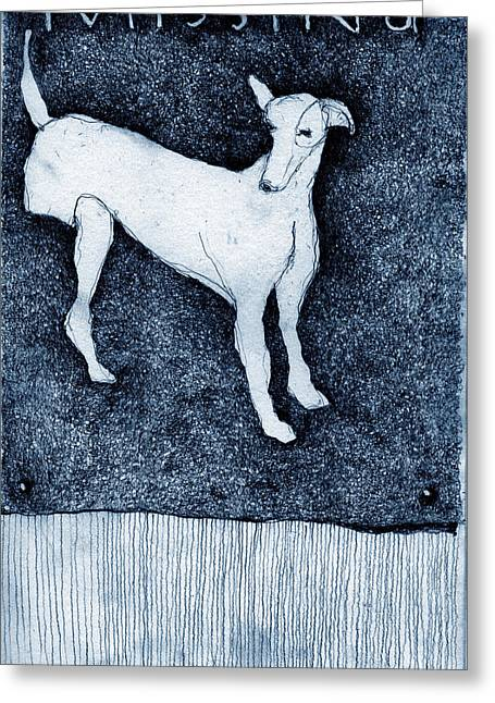 Lurcher Greeting Cards - Missing Greeting Card by Kathryn Siveyer