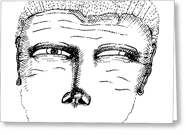Stippling Drawings Greeting Cards - Missing Mouth Greeting Card by Karl Addison