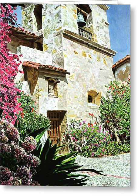 Historic Sites Greeting Cards - Mission Carmel Bell Tower Greeting Card by David Lloyd Glover
