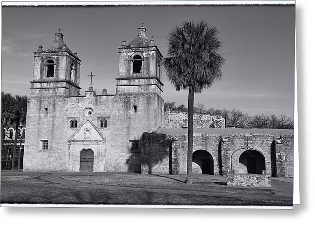San Greeting Cards - Mission Concepcion -- BW Greeting Card by Stephen Stookey