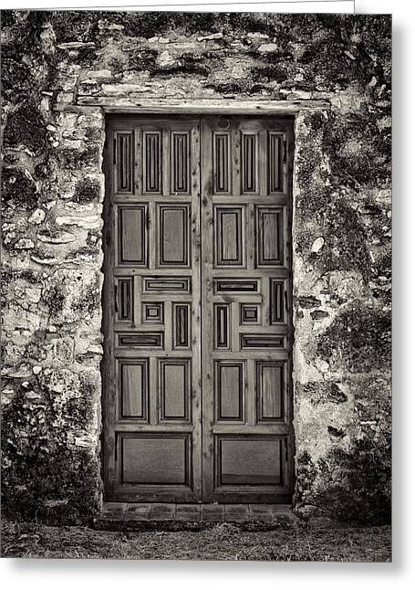 Old Door Greeting Cards - Mission Concepcion Door #1 Greeting Card by Stephen Stookey