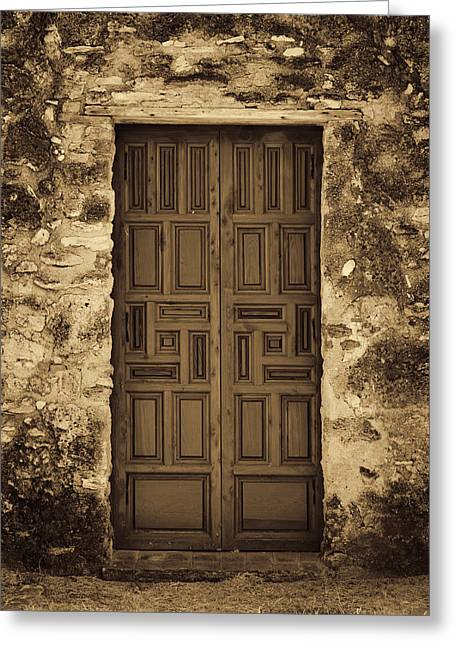 Old Door Greeting Cards - Mission Concepcion Door #2 Greeting Card by Stephen Stookey