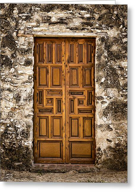 Religious Greeting Cards - Mission Concepcion Door #3 Greeting Card by Stephen Stookey