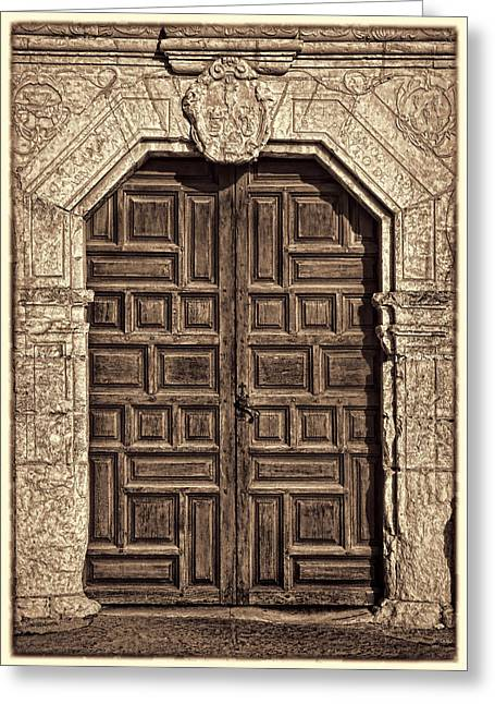 Stones Greeting Cards - Mission Concepcion Doors - Sepia w Border Greeting Card by Stephen Stookey