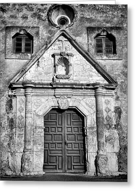 Doors Greeting Cards - Mission Concepcion Entrance - BW Greeting Card by Stephen Stookey
